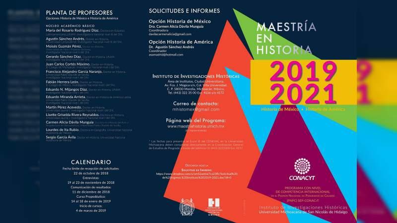 A pocos días de cerrar la convocatoria de ingreso a la Maestría en Historia que ofrece la Casa de Hidalgo