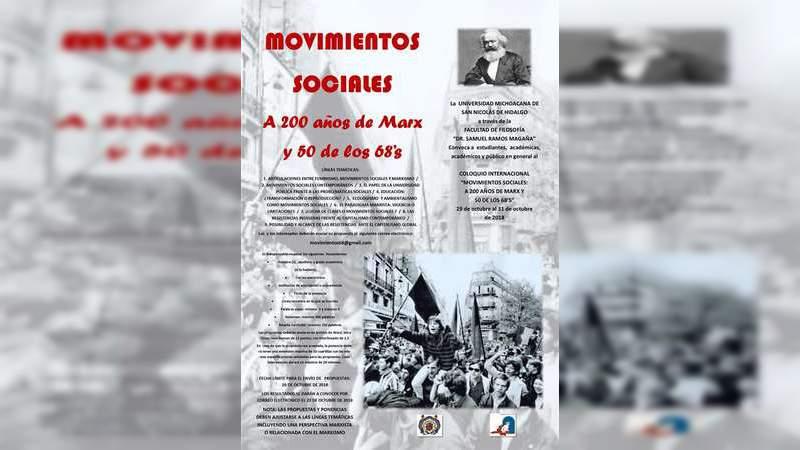 En la Facultad de Filosofía, próximo Coloquio Internacional sobre Movimientos Sociales de Marx al 68