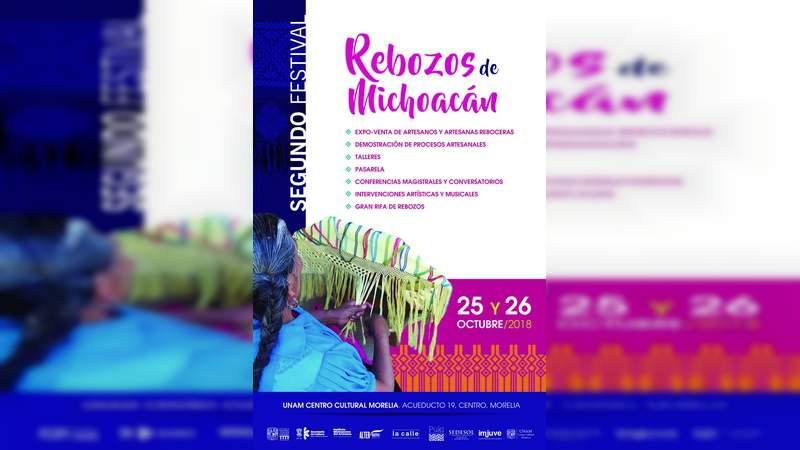 Realizan, la asociación PUKI telares y la UNAM centro cultural, el segundo festival rebozos de Michoacán