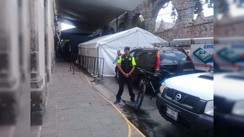 Policía Municipal resguarda calles previo a la inauguración del Festival Internacional de Cine de Morelia