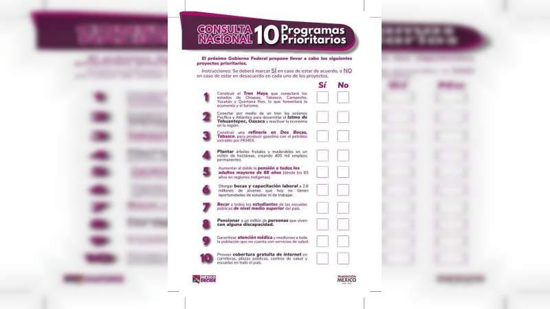 Presentan la boleta para la consulta nacional de 10 Programas Prioritarios