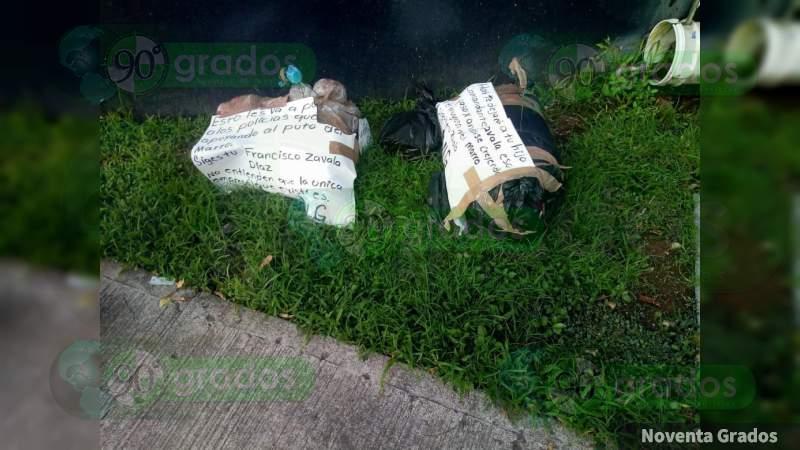 Con narcomensaje, dejan dos descuartizados en calles de Iguala, Guerrero