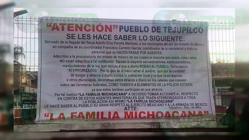 """Amenazan en narcomantas a Adolfo Eloy Peralta """"El Yanki"""" y Francisco Carreón, exfuncionarios de Alfredo Castillo que trabajaron en la SSP y PGJ de Michoacán"""