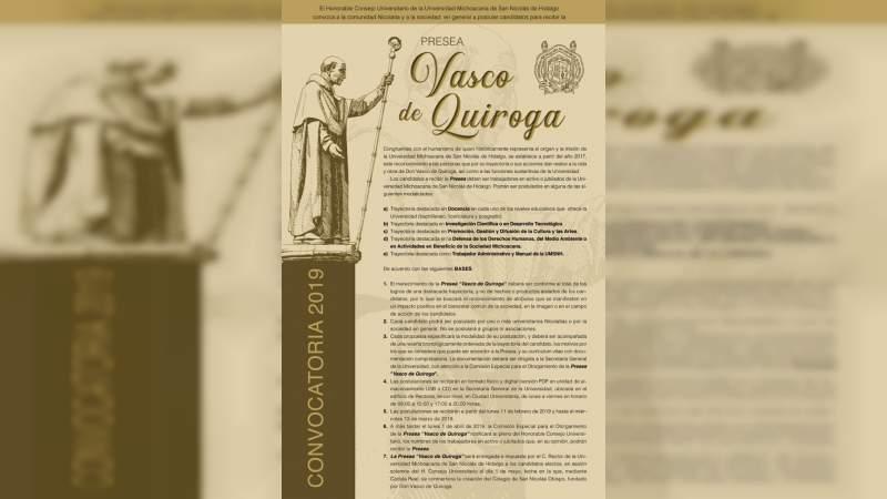 "Abierta la convocatoria para la entrega de la Presea ""Vasco de Quiroga"" en la Universidad Michoacana"