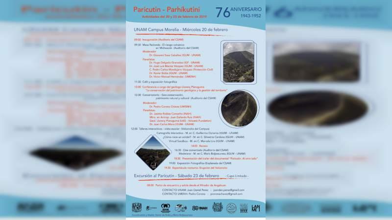 UNAM Campus Morelia invita a las actividades del 76 aniversario del Volcán Parícutin