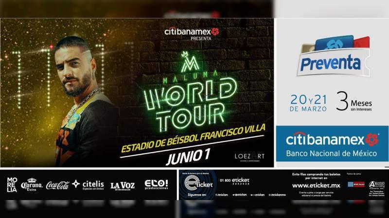 Iniciará preventa Citibanamex para concierto de Maluma en Morelia