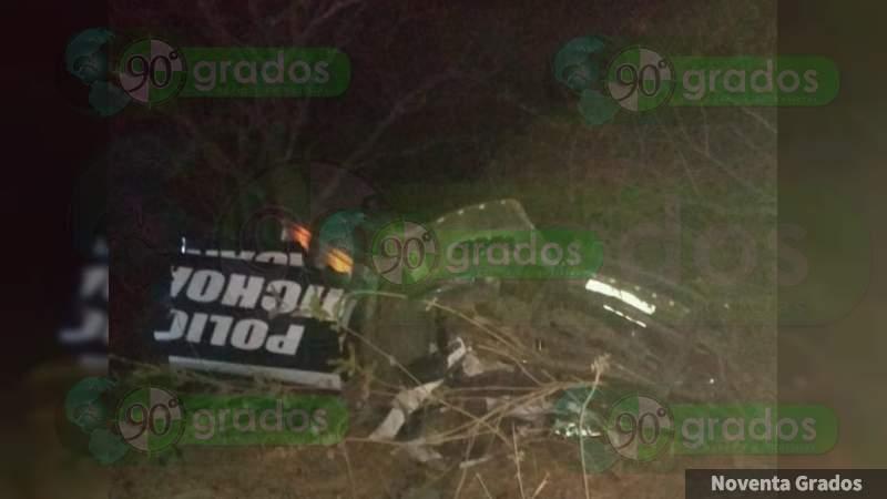 Vuelcan director de Seguridad Pública y tres policias en Puruándiro, Michoacán