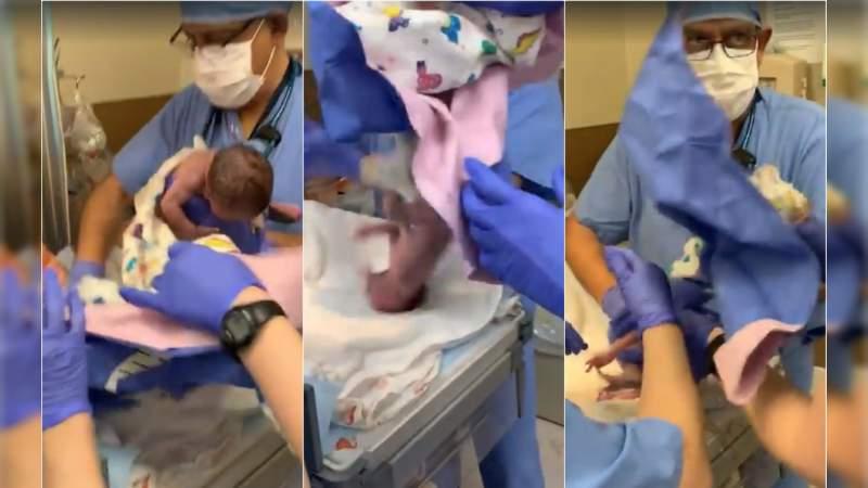 Bebé se cae de manos del médico y sufre hemorragia cerebral