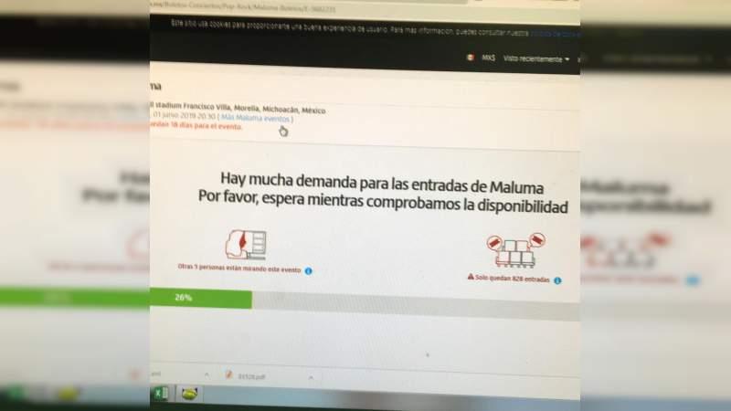 Empresa no autorizada vende boletos apócrifos del show de Maluma para presentación en Morelia