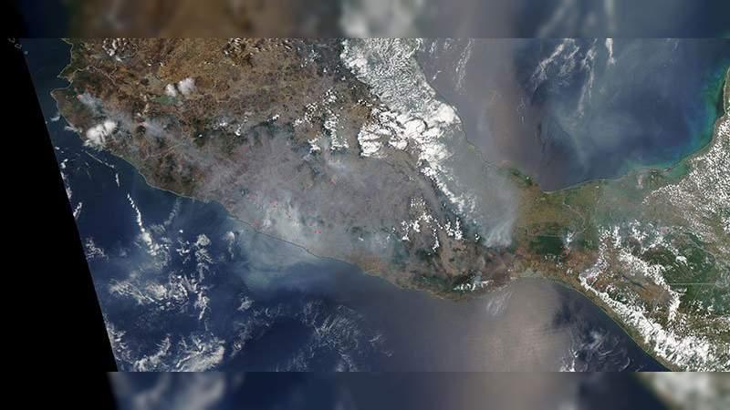 NASA publica imágenes de incendios en México