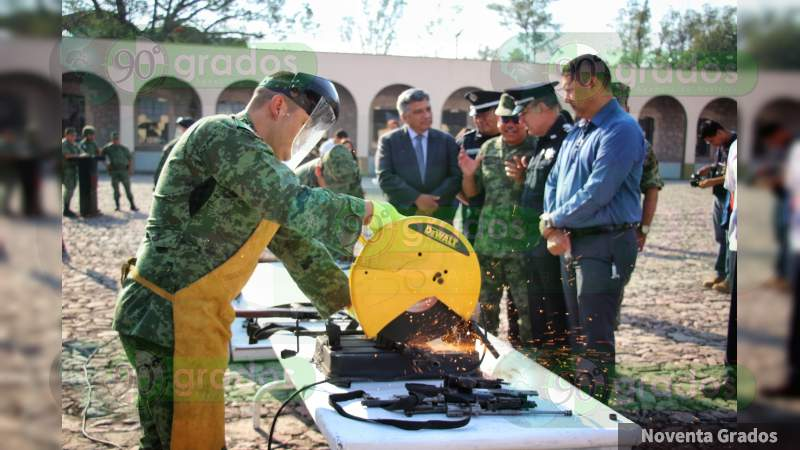 Destruye la Sedena armamento en la XXI Zona Militar