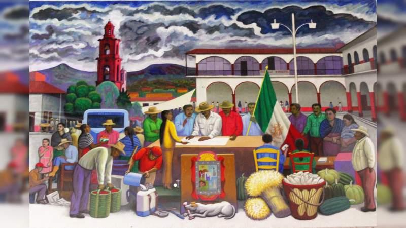 """Alegoría de Panindícuaro,proyecto de mural de Arturo Estrada """"El Frido"""""""