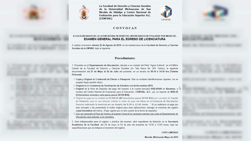 UMSNH anuncia próxima aplicación del examen EGEL como medio de titulación