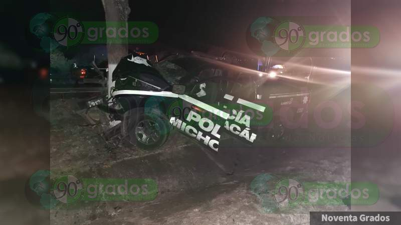Se accidentan elementos policiacos en Angamacutiro, Michoacán, hay un muerto y tres heridos