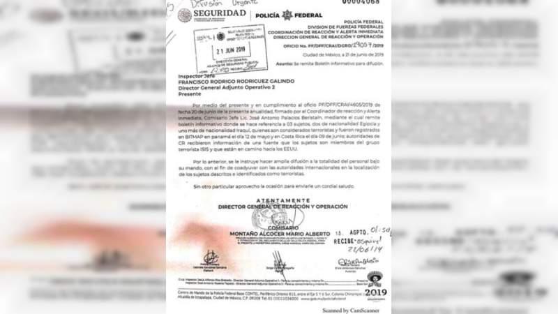 Alertan a autoridades por presuntos terroristas de ISIS en México