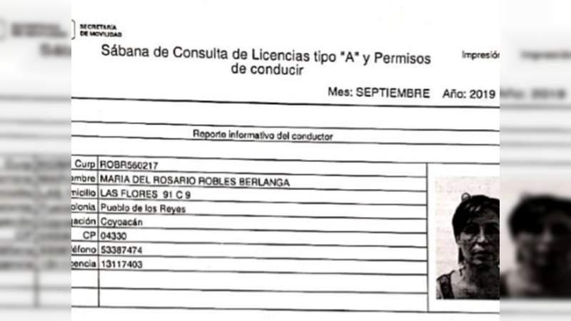 Aseguran que una de las licencias de Rosario Robles es falsa