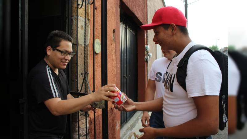 Colectan alimentos jóvenes del SMN adscritos a la XXI Zona Militar