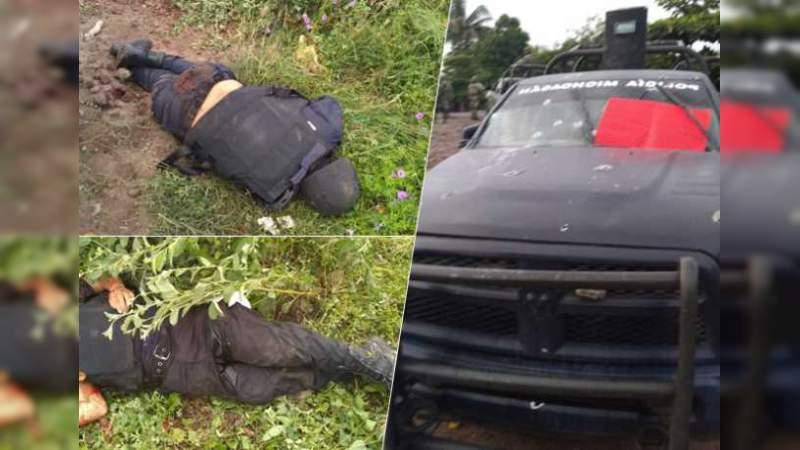 Confirma la FGE y la SSP 13 policías muertos y tres heridos en emboscada de Aguililla, Michoacán