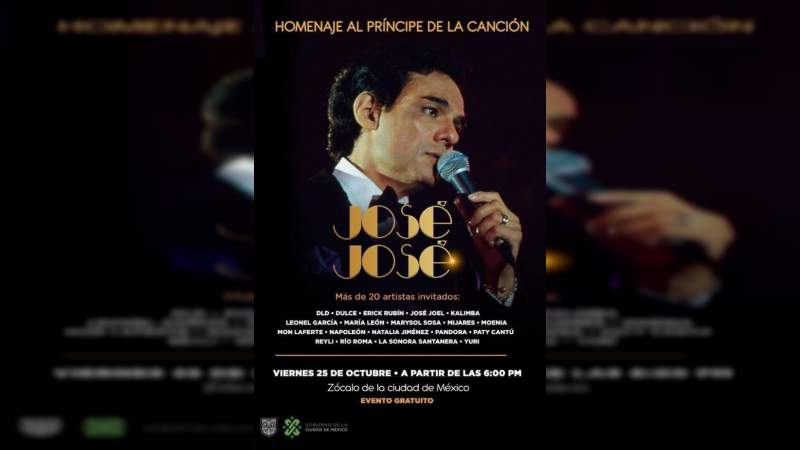 Homenaje a José José se realizará el 25 de octubre