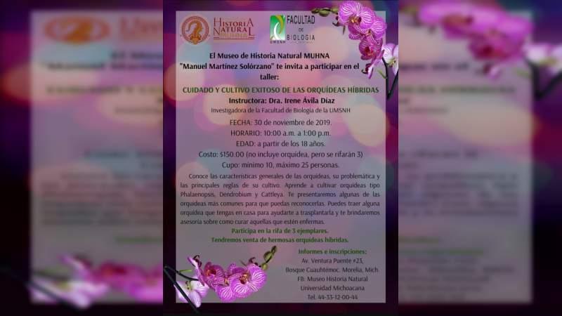 Museo de Historia Natural ofrece Taller sobre el cuidado y cultivo de orquídeas