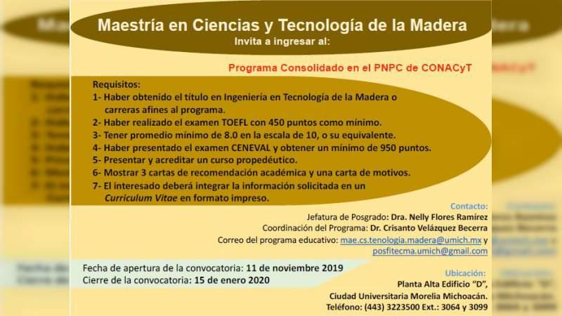 Publican Convocatoria para Maestría en Ciencias y Tecnología de la Madera