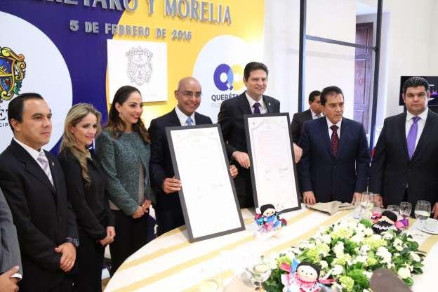 Morelia y Querétaro firman hermanamiento