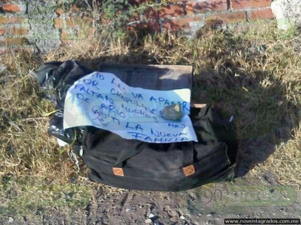 Junto a narcomensaje, localizan mochila con restos humanos en Zamora