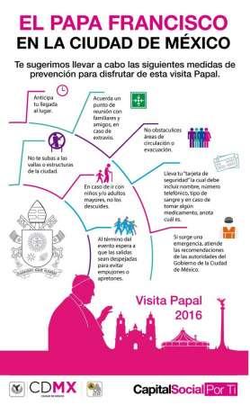 Emiten recomendaciones para acudir a actividades del Papa en la Ciudad de México