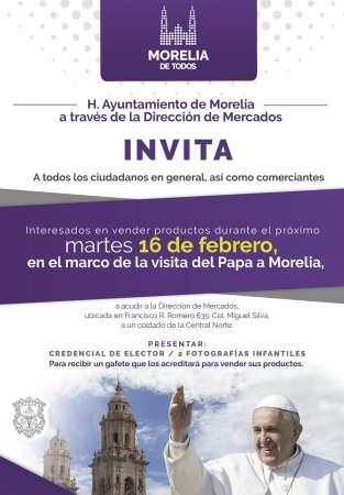 Gobierno Municipal de Morelia facilita y regula comercio durante visita del Papa