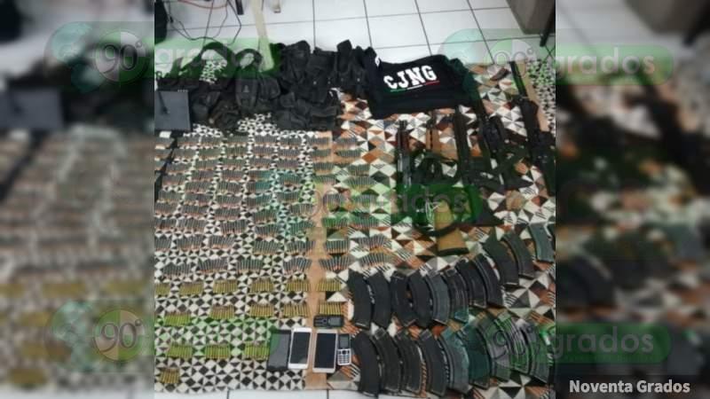 Capturan a célula del Cártel Jalisco en Tangamandapio: Aseguran arsenal