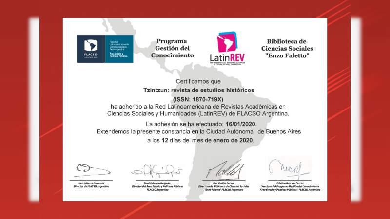 Revista Nicolaita Tzintzún, aceptada en la Red Latinoamericana de Revistas Académicas
